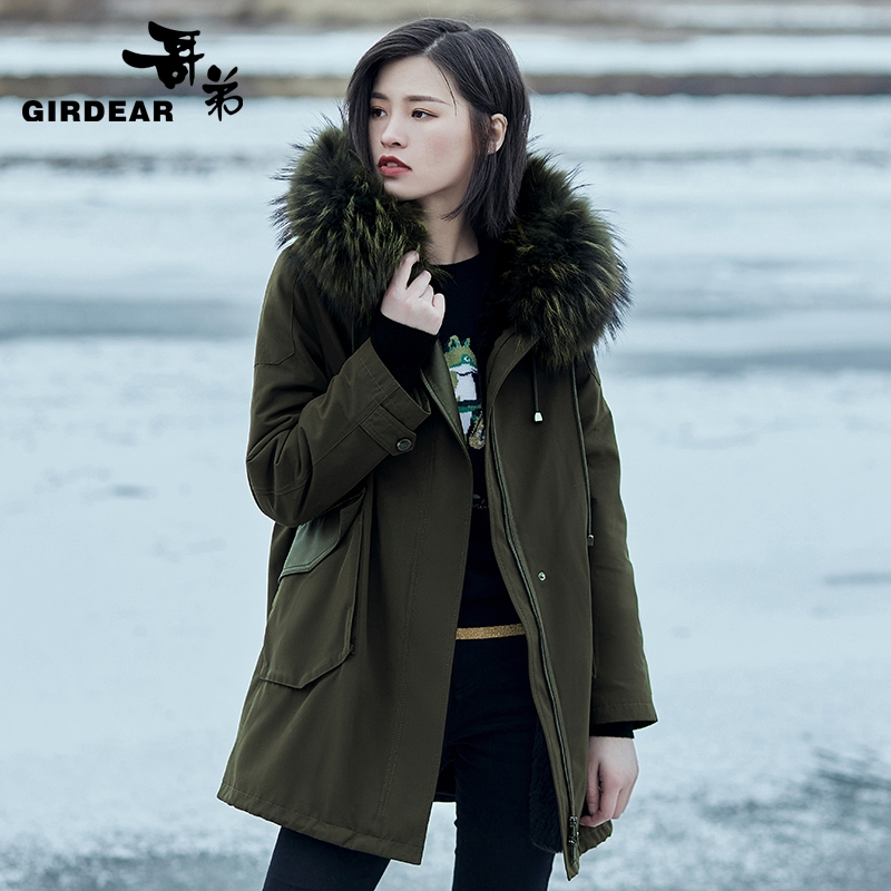 Brother 2020 new autumn clothes mid-length fur collar fur pie overcoming hooded cotton jacket lady A400230