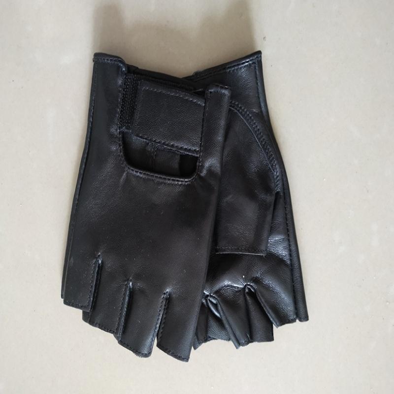 Mens Half Finger black leather full leather cool half finger gloves sports gloves