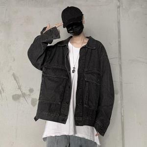 實價實拍控價68 冬季韓國復古水洗工裝口袋牛仔夾克外套男女潮