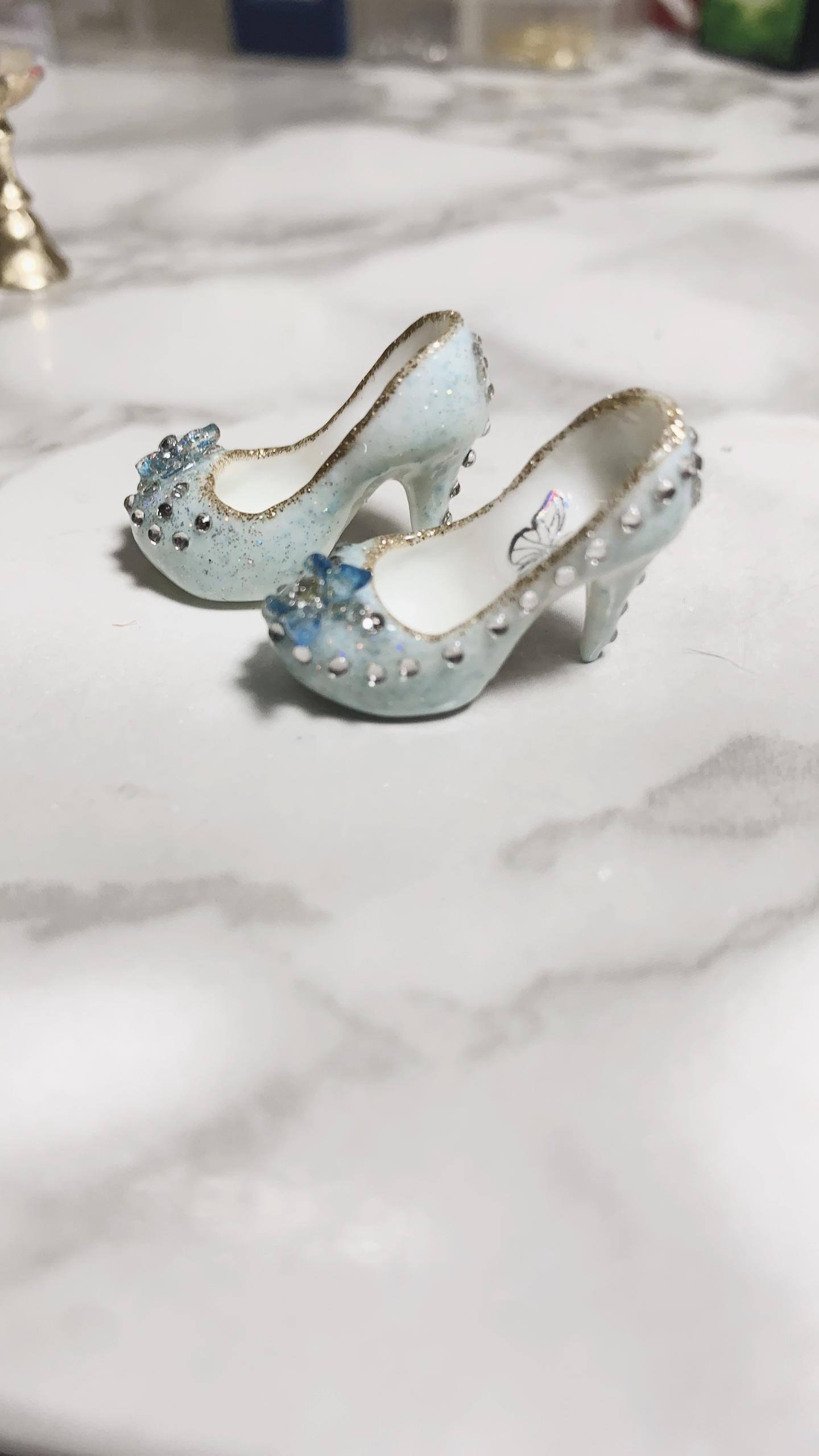 BJD Baby Shoes 6 points baby high heels flat feet can wear small cloth blue high heels az6 points