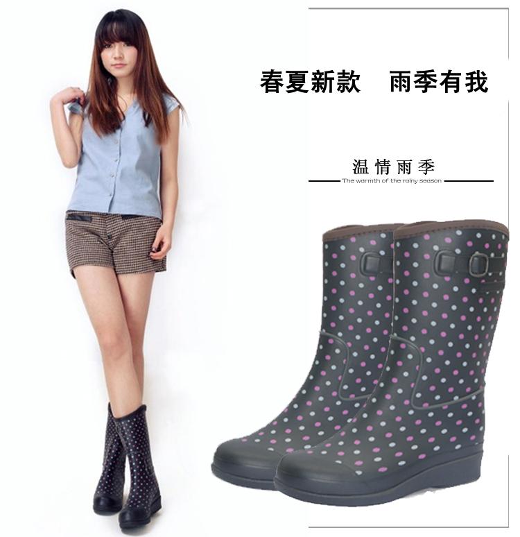清仓2019时尚雨鞋女款秋中筒 防滑耐磨柔软雨靴 水鞋 套鞋 橡胶