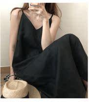 黑色吊带连衣裙名媛内搭大码宽松雪纺v领开叉中长款赫本小黑裙ins