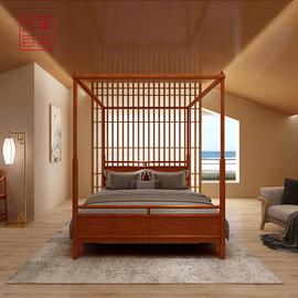 艺盟百胜缅甸花梨架子床红木新中式四柱床花梨木老式缅花实木家具图片
