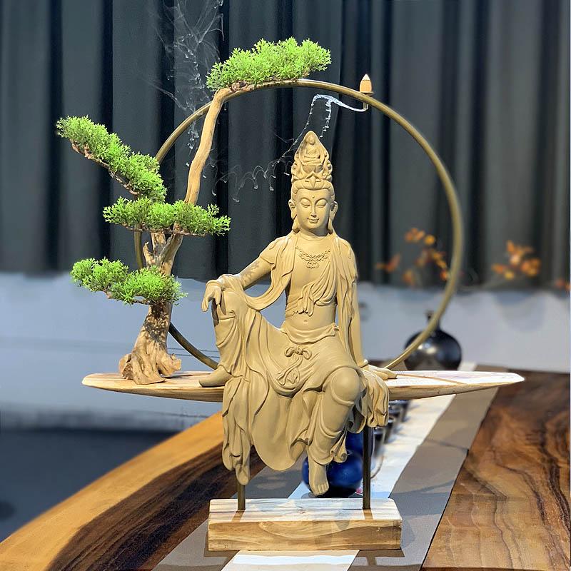 自在观音佛像摆件 家居客厅玄关桌博古架茶室装饰 新中式禅意摆设