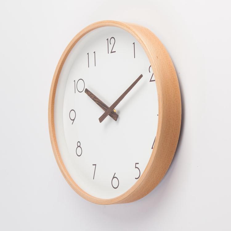 Нештемпелеванный бук рамка 12 дюймовый 14 дюймовый нордический настенные часы спальня гостиная японский домой немой дерево кварц часы