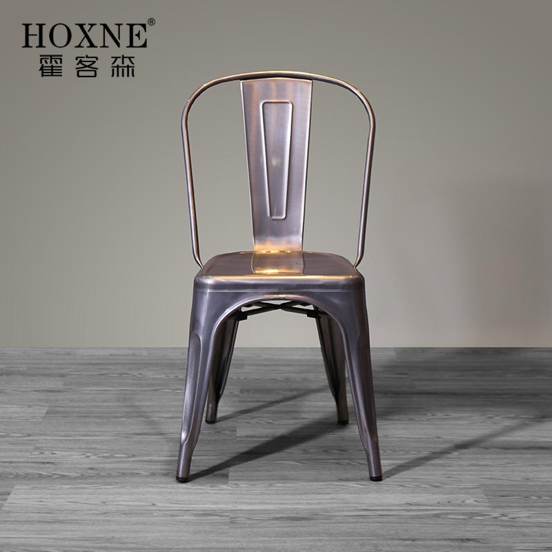 霍客森欧式铁椅餐厅椅金属椅时尚铁皮餐椅经典无扶手靠背椅子家用