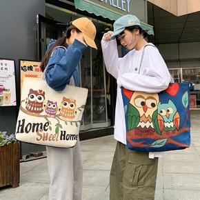 timely时尚女包新款单肩包帆布包短途旅行包绣花民族风大包电脑包