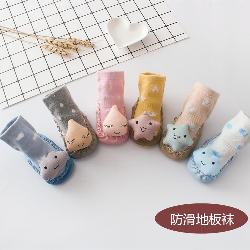 男女宝宝小袜子秋季卡通婴儿鞋袜防滑学步袜软皮底儿童地板袜0-3图片