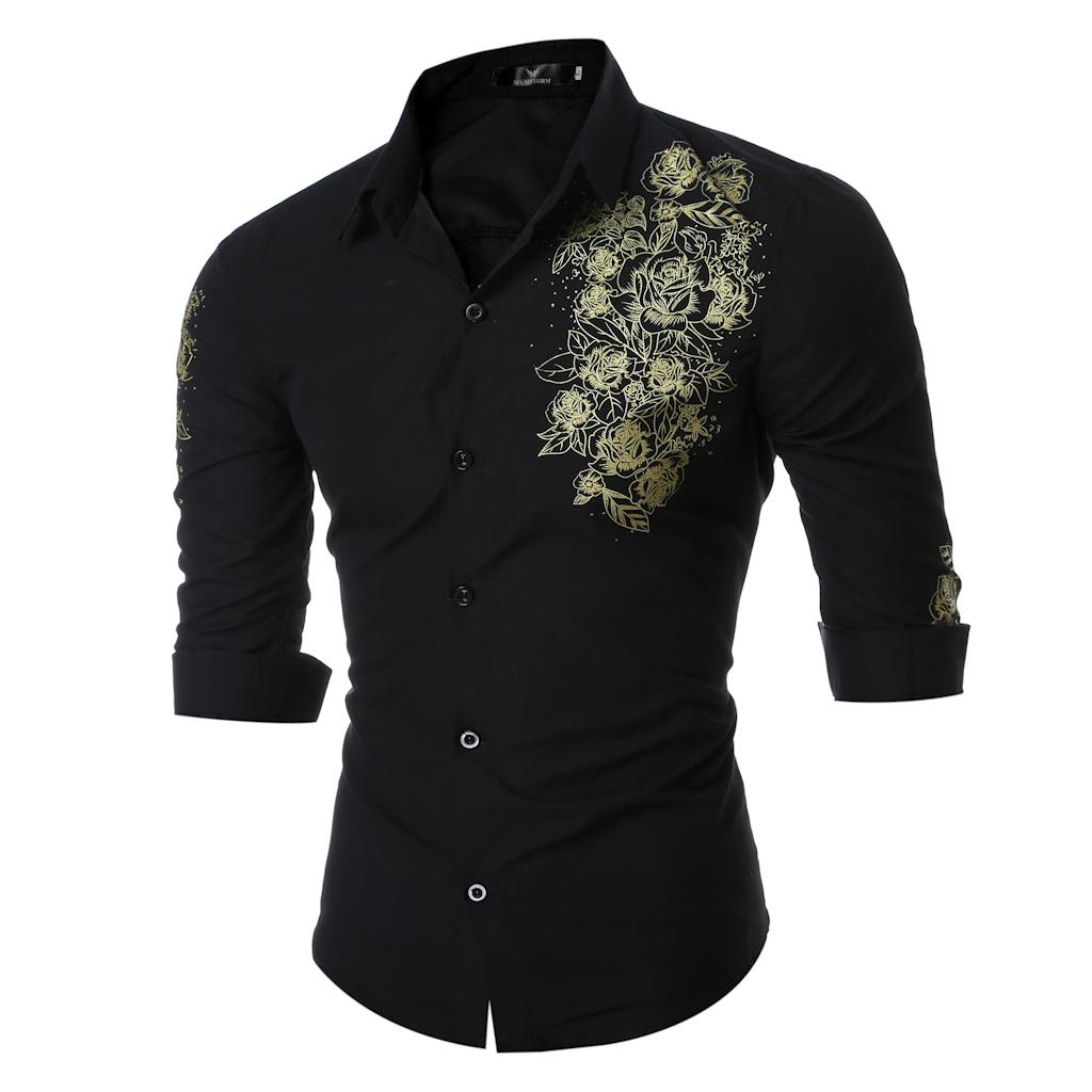 外贸男士衬衫英伦贵族印花衬衣系列8002-P35(卷袖拍摄)-黑色