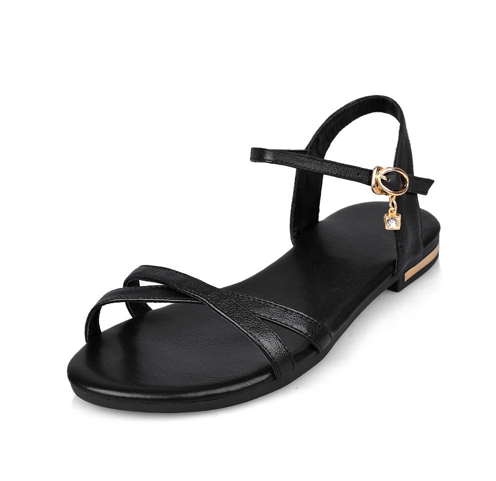 舒適簡約平跟真皮羅馬涼鞋