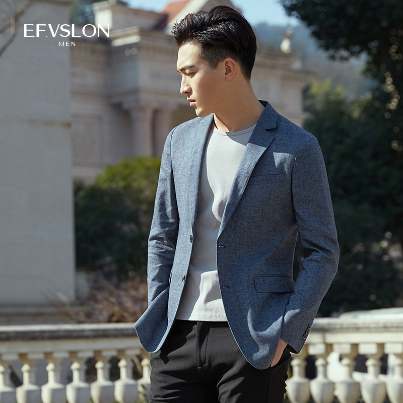 2020 mens spring and autumn Korean slim youth suit coat fashion linen single Western casual slim suit