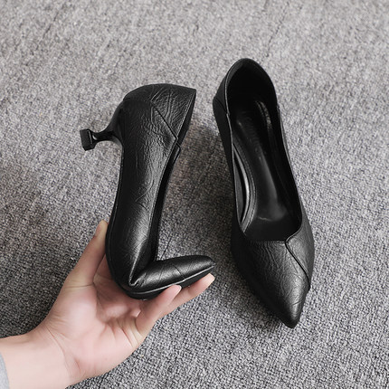 小跟单鞋女两穿2020春秋新款3cm高跟鞋5cm中跟猫跟黑色职业工作鞋