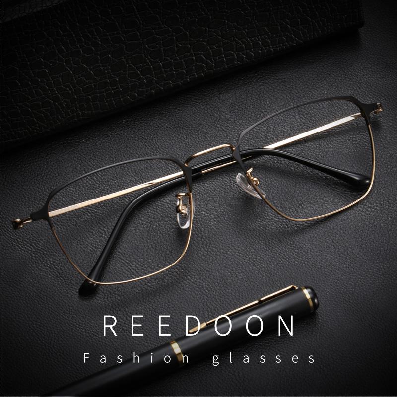眼镜框超轻纯钛男可配镜片黑框复古近视眼镜架全框素颜眼睛成品潮