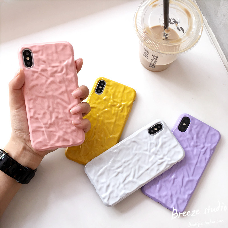 纯白色褶皱纸苹果x手机壳简约女款iphone8plus软硅胶7P全包边6s壳