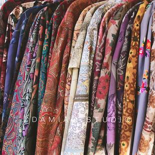 日本製古着網紅腰果花油畫印花巴洛克襯衫寬鬆男女chic港風復古bf