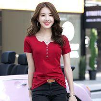 火龙果色t恤短袖修身显瘦遮肉小衫收腰洋气半袖女设计感小众上衣