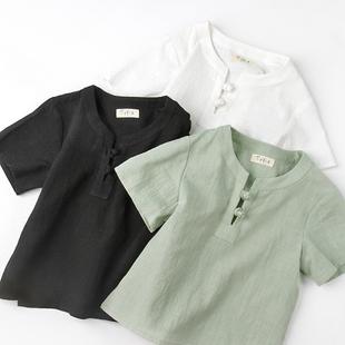 棉麻汉服男童盘扣中式 童装 国学 夏季 儿童中国风上衣短袖 T恤唐装 衫