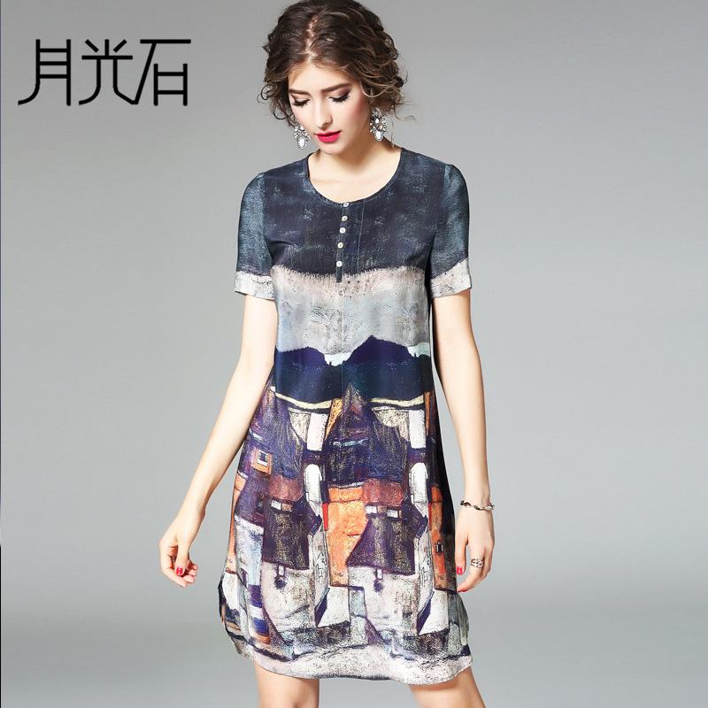 月光石高端女装印花气质A字裙桑蚕丝真丝连衣裙女短袖ZR3626