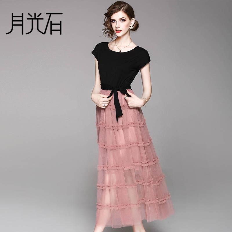 月光石新款优雅气质圆领网纱长款短袖系带透视连衣裙WM10016