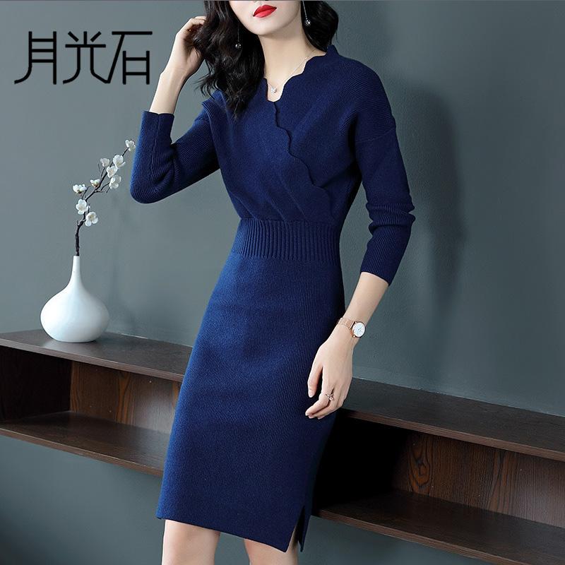 月光石新款气质女装纯色V领长袖拼接修身显瘦毛衣裙连衣裙BDL486