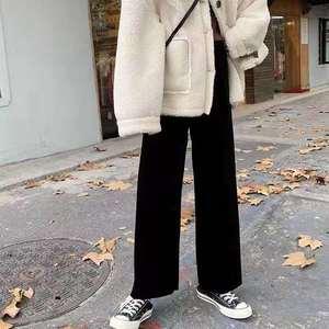 2019新款大码女装灯芯绒阔腿裤女秋冬黑色显瘦裤子宽松直筒厚加绒