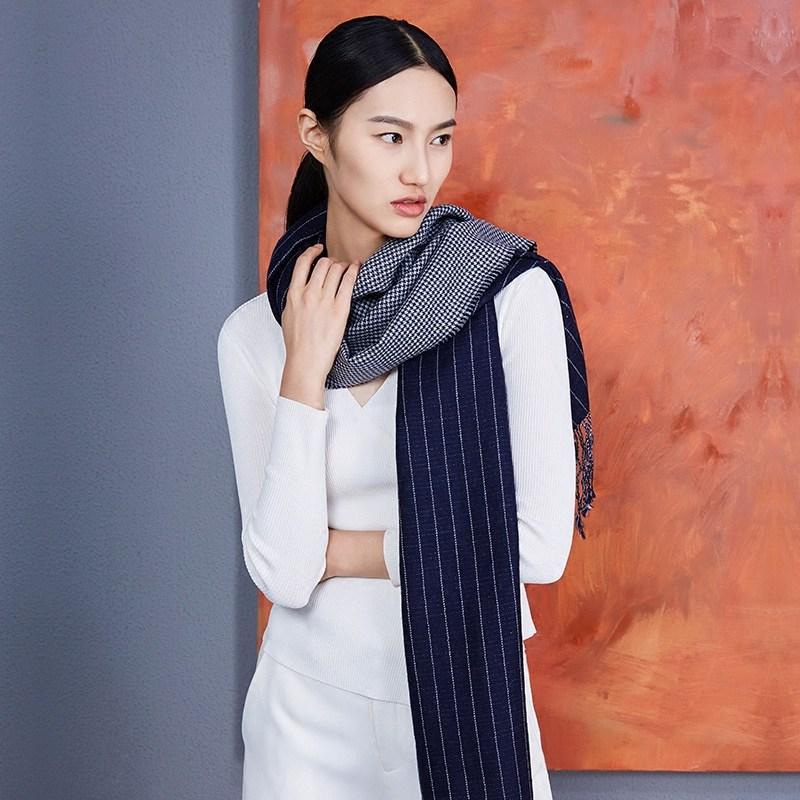 万事利冬季新款流苏拼接厚款围巾女士时尚长款羊毛围脖北境之夜