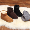 Aisi Chen snow boots Girls tube leather winter boots cotton-padded shoes warm bread plus velvet men and women shoes Duantong