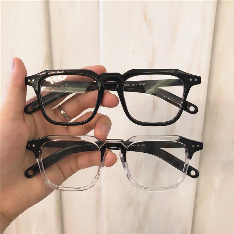 新款可配近视防蓝光眼镜架超火小红书同款小方框黑色粗框ins2019
