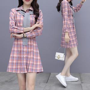 YF64699# 衬衫连衣裙秋装新款女小个子披肩两件套洋气减龄网红套装裙 服装批发女装直播货源