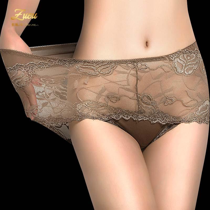 内裤女性感透明蕾丝中高腰大码胖MM无痕透气网纱大红女士三角裤头