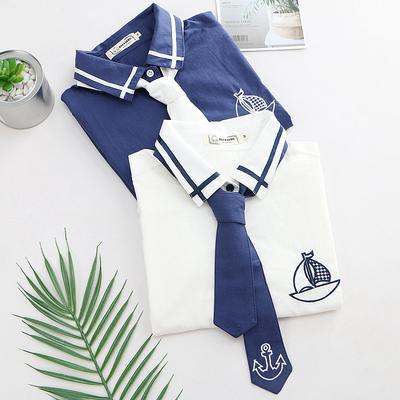 日系森女学院风甜美小清新学生船锚领带长袖衬衫女秋装打底衫衬衣