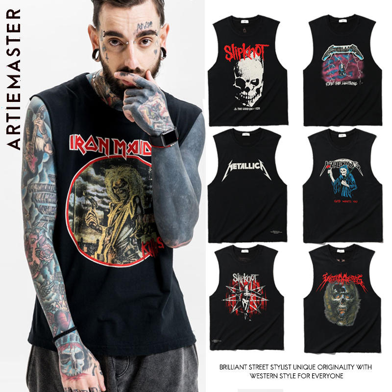 European and American street printed T-shirt short sleeve loose fitness vest worn out and worn out rock wave brand sleeveless mens Vest Large