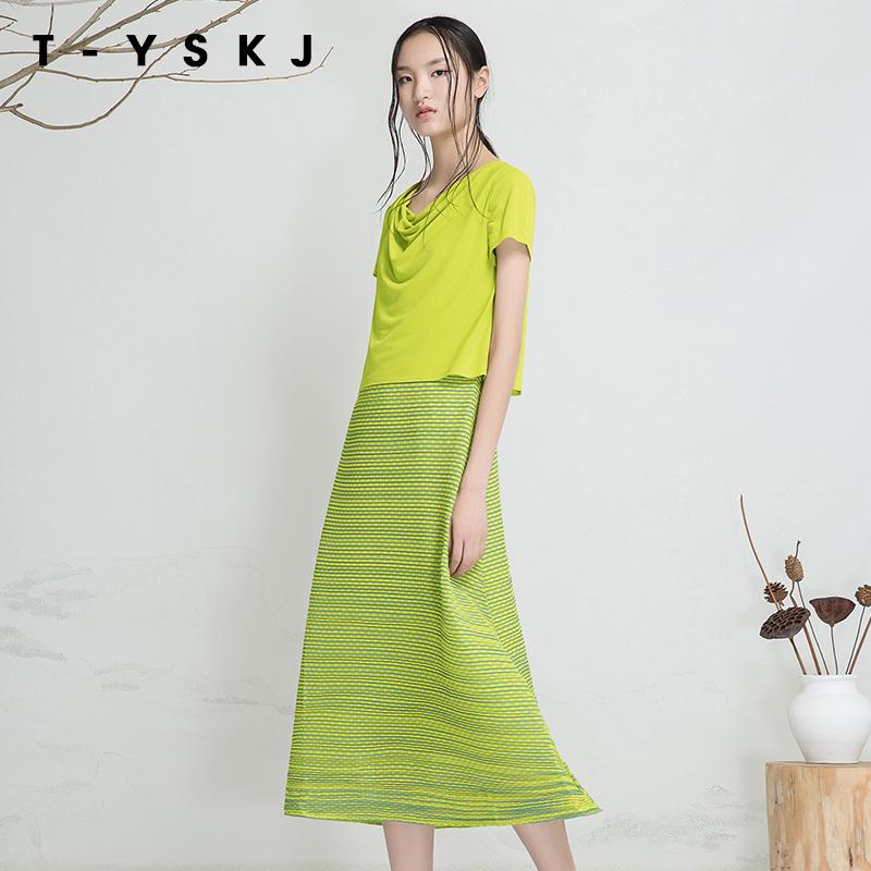 台绣TYSKJ 2018夏装新款通勤圆领短袖假两件长款雪纺连衣裙F20311