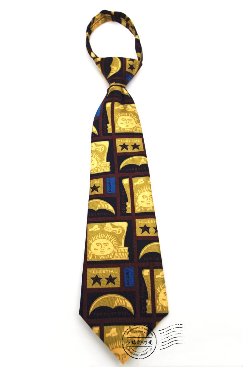 中國代購|中國批發-ibuy99|领带|小排的时光 太阳卡通印花拉链免打结短款儿童领带 复古风