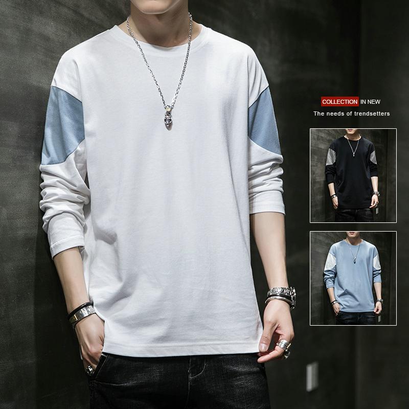 【已质检】春季新款长袖t恤男士韩版潮流宽松撞色打底衫DS693TP25