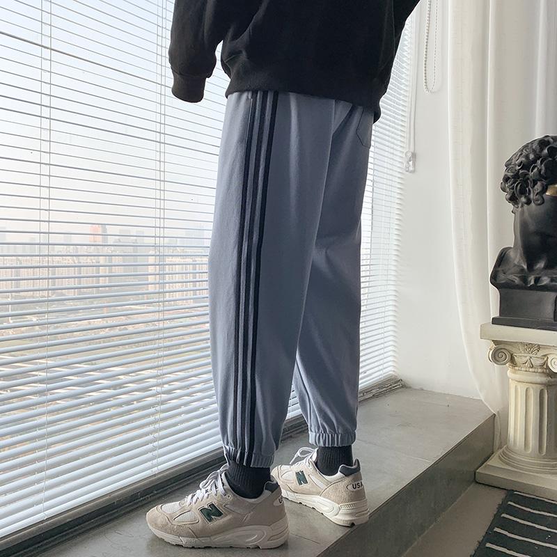 裤子男春季新款韩版宽松潮流休闲裤束脚条纹九分卫裤DS655TP35