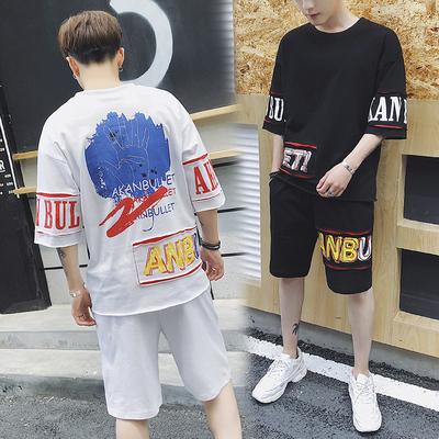 夏季男士短袖t恤休闲运动套装韩版潮流半袖嘻哈服DS129TP65