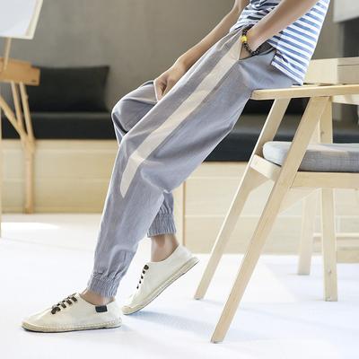 男士休闲裤春秋学生运动裤子卫裤棉麻哈伦裤收口小脚长裤DS13TP35