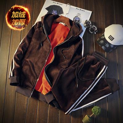 男士卫衣套装青少年休闲运动加绒加厚金丝绒冬季两件套DJ913TP110