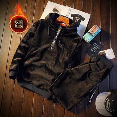 男士双面加绒休闲运动装 冬季青少年卫衣金丝绒套装DJ911TP100