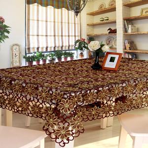 欧式绣花镂空餐桌布茶几布桌旗餐垫圆形长方形台布包邮