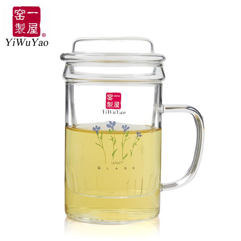 一屋�G玻璃 FH-231S3茶水分�x泡茶杯透明花茶加厚�^�V水杯三件式