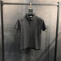 秋冬新款男士半袖Polo针织衫韩版个性条纹拼色青年大码短袖毛衣潮