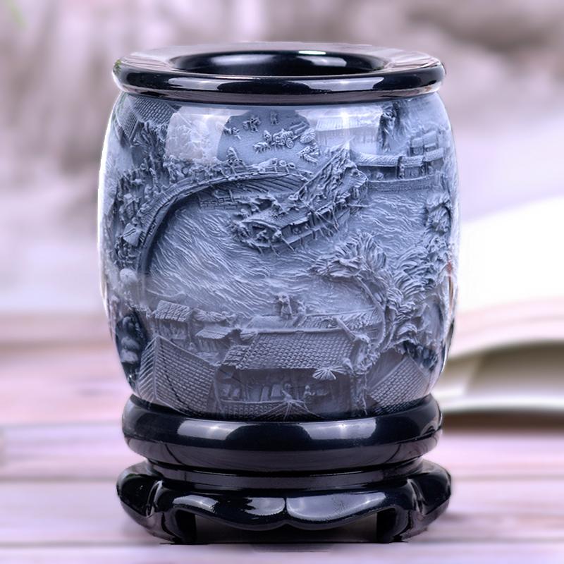 笔筒复古中国风办公室摆件工艺品创意装饰礼品实用定制教师节礼物