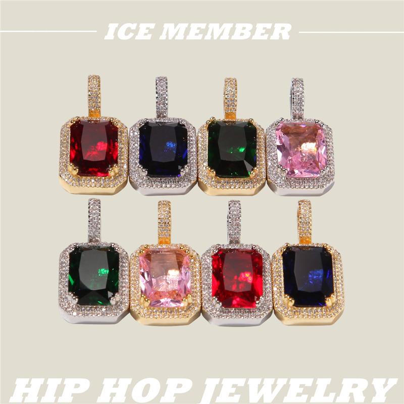 嘻哈潮流方形实心宝石款项链 彩色宝石满锆镶嵌潮牌高街个性吊坠