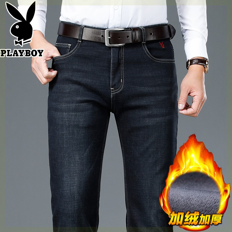 Winter high waist deep grade middle-aged mens Plush thickened business casual jeans middle-aged and elderly mens straight pants