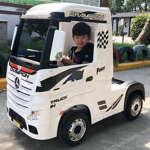 奔驰卡车头儿童电动车四轮遥控汽车宝宝货车小孩半挂玩具车可坐人