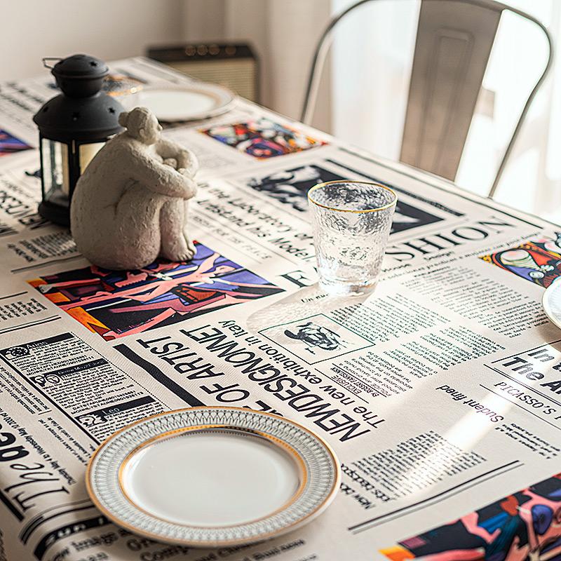 复古美式法式毕加索油画酒吧咖啡馆纯棉桌布定制餐桌布拍照背景布