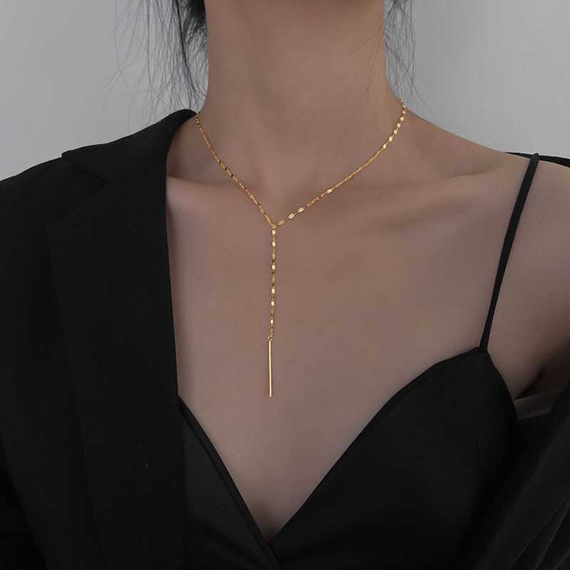 Europe and the United States simple cold style titanium steel necklace fashion personality y word tassel anti fading collarbone chain womens neck chain