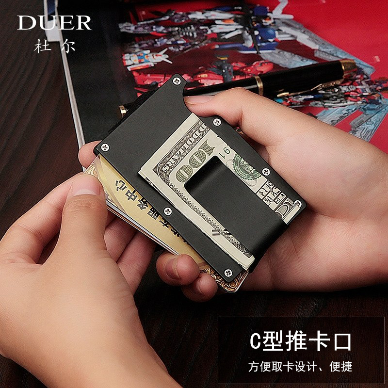 Metal clip bag banknote clip Mini Wallet small clip bag simple personality youth Clip Wallet lettering